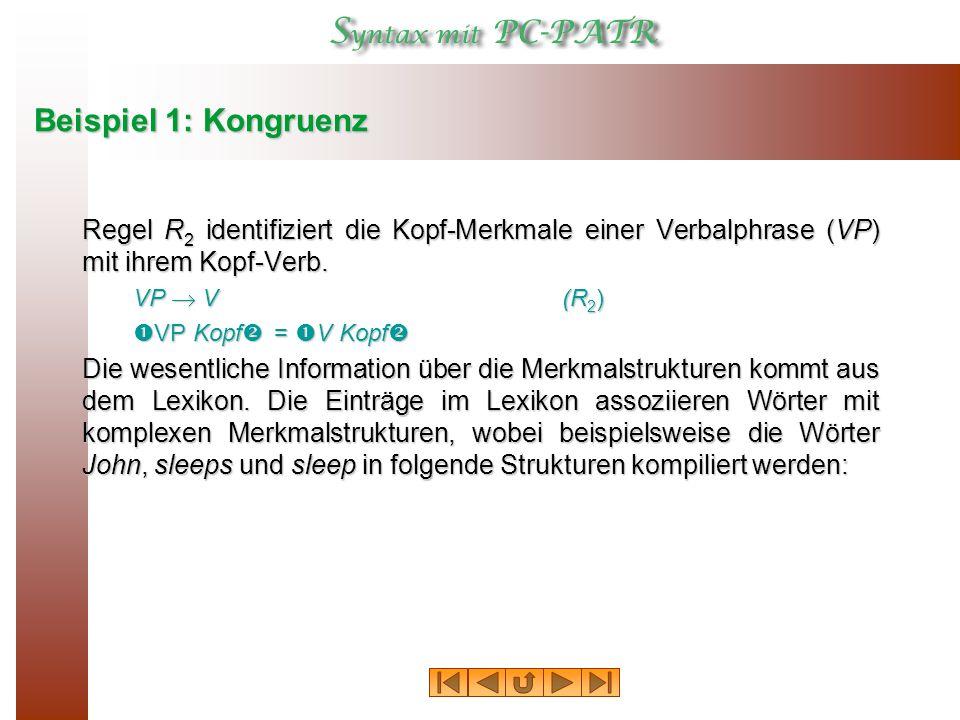 Beispiel 1: Kongruenz Regel R2 identifiziert die Kopf‑Merkmale einer Verbalphrase (VP) mit ihrem Kopf‑Verb.