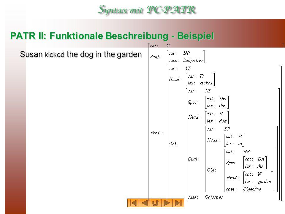 PATR II: Funktionale Beschreibung - Beispiel