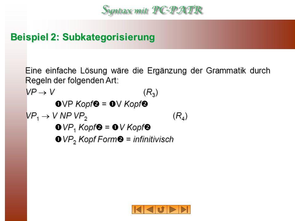 Beispiel 2: Subkategorisierung