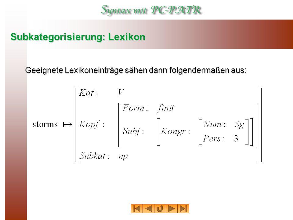 Subkategorisierung: Lexikon