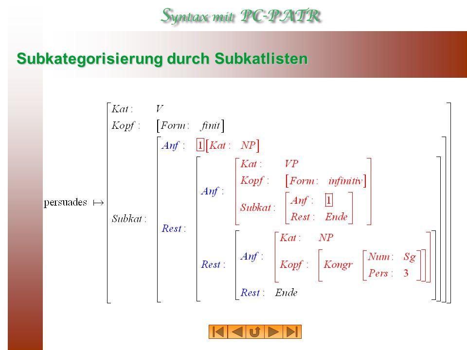 Subkategorisierung durch Subkatlisten