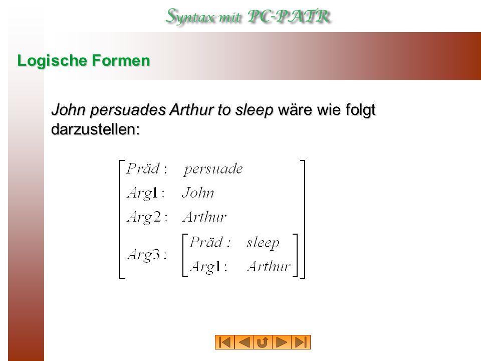 Logische Formen John persuades Arthur to sleep wäre wie folgt darzustellen: