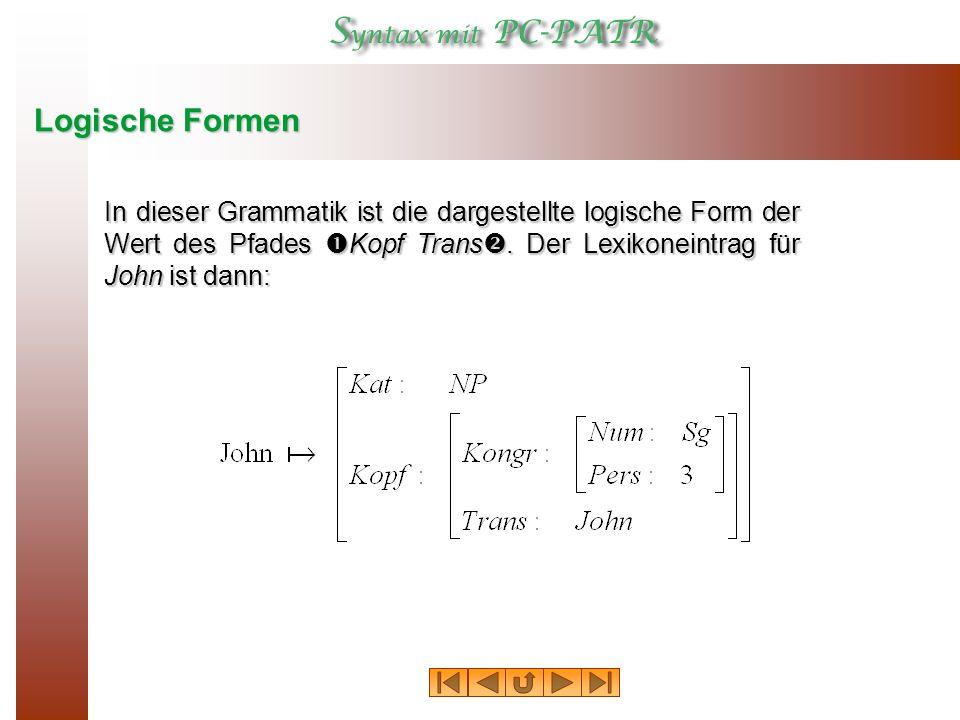 Logische Formen In dieser Grammatik ist die dargestellte logische Form der Wert des Pfades Kopf Trans.