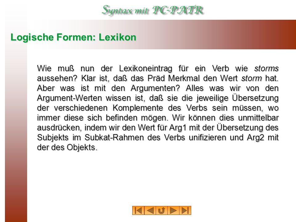 Logische Formen: Lexikon