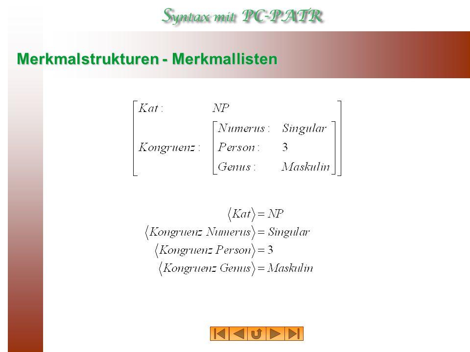 Merkmalstrukturen - Merkmallisten