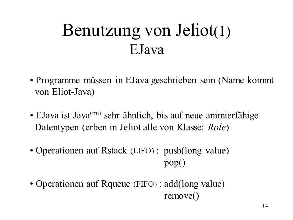Benutzung von Jeliot(1) EJava