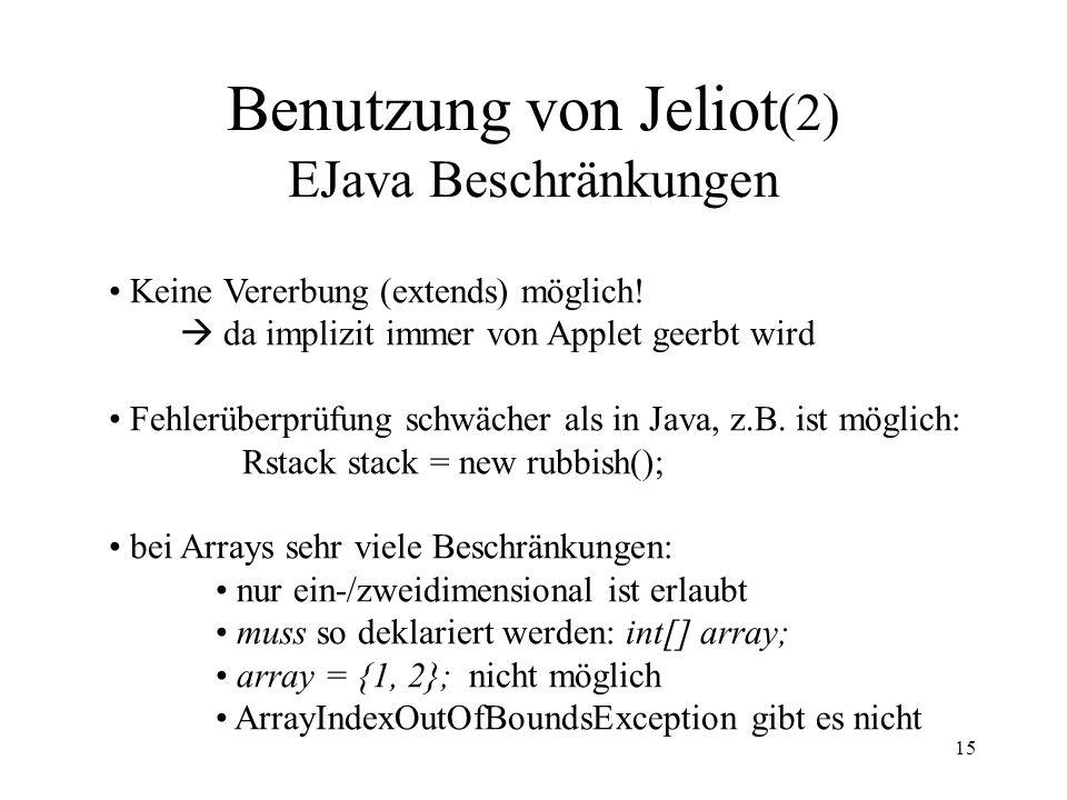 Benutzung von Jeliot(2) EJava Beschränkungen