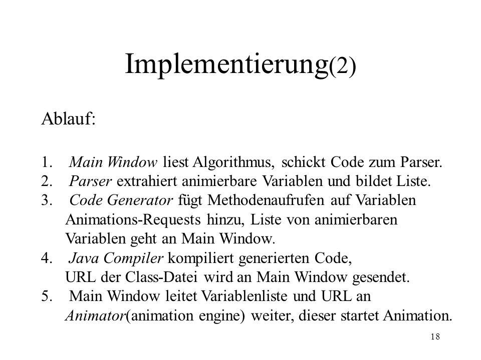 Implementierung(2) Ablauf: