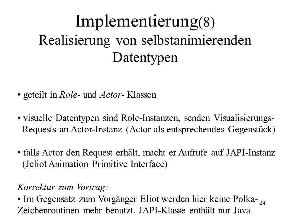 Implementierung(8) Realisierung von selbstanimierenden Datentypen