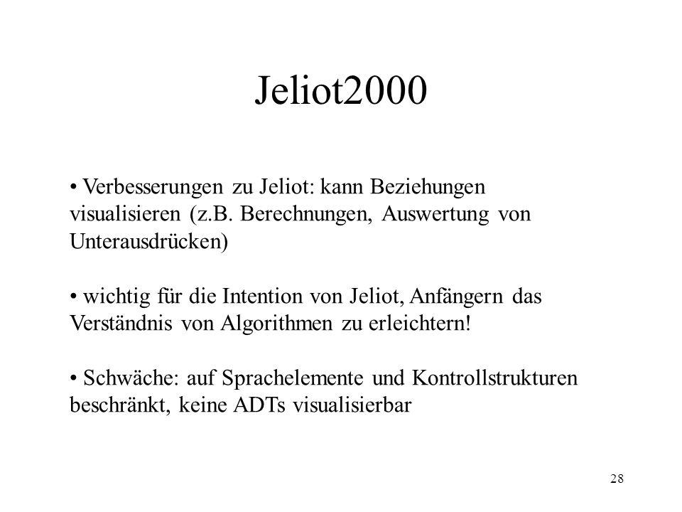 Jeliot2000 Verbesserungen zu Jeliot: kann Beziehungen visualisieren (z.B. Berechnungen, Auswertung von Unterausdrücken)