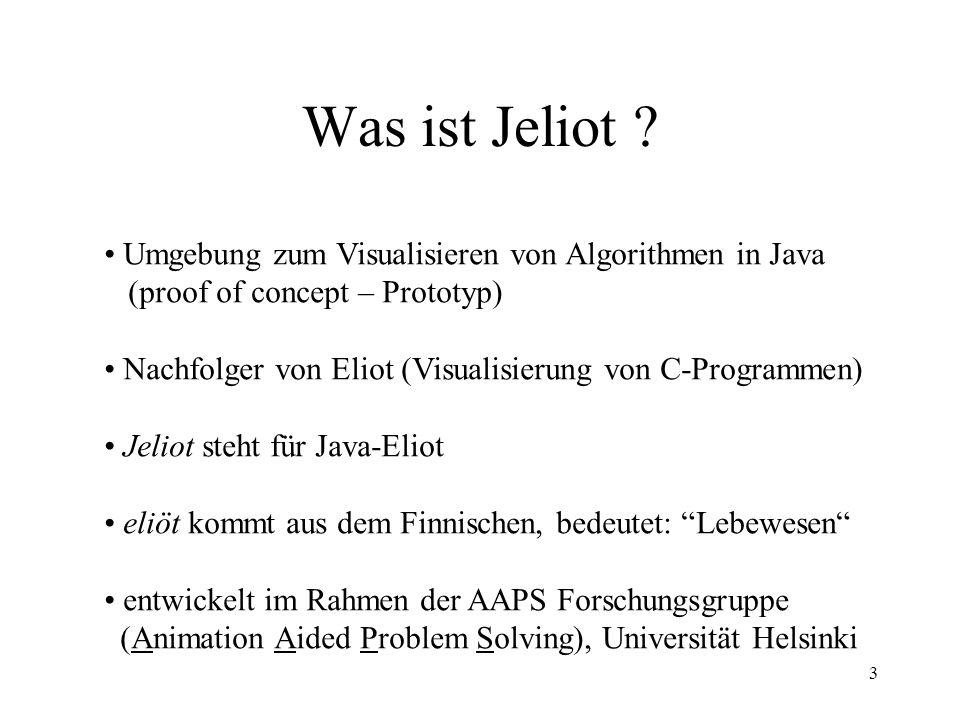 Was ist Jeliot Umgebung zum Visualisieren von Algorithmen in Java