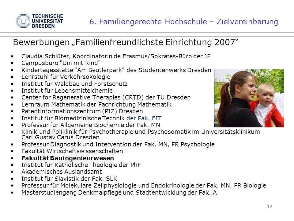 """Bewerbungen """"Familienfreundlichste Einrichtung 2007"""