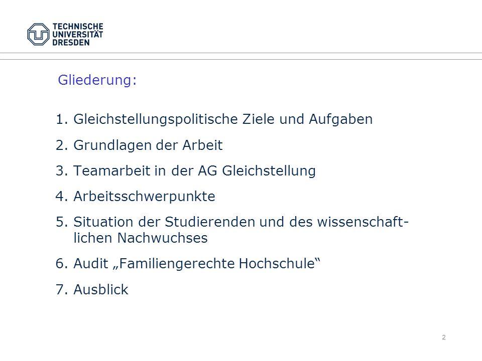 Gliederung: 1. Gleichstellungspolitische Ziele und Aufgaben. 2. Grundlagen der Arbeit. 3. Teamarbeit in der AG Gleichstellung.