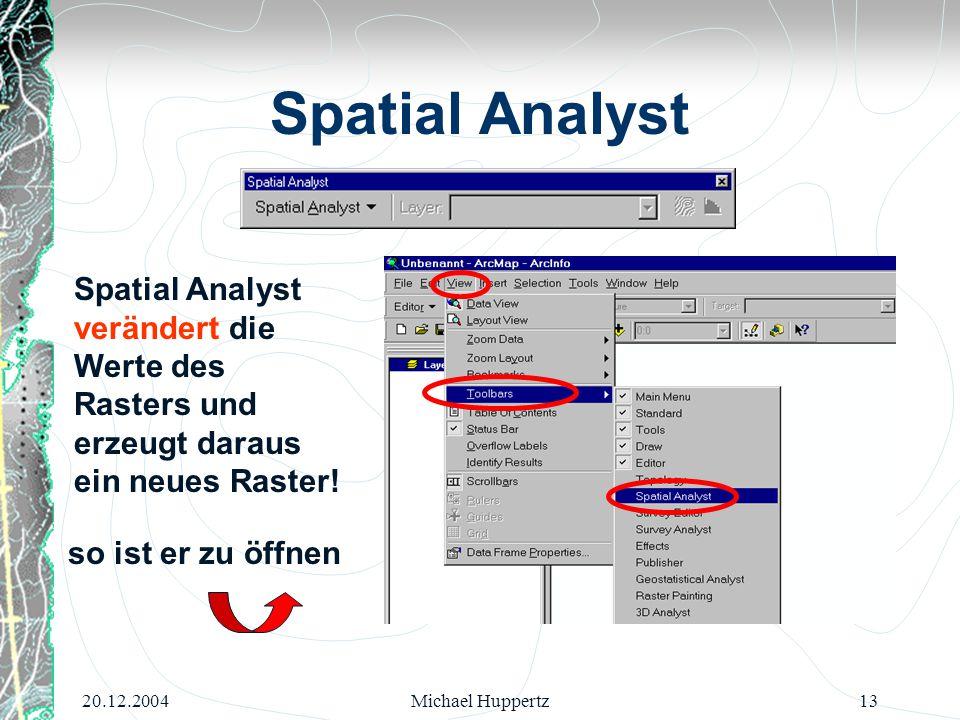 Spatial Analyst Spatial Analyst verändert die Werte des Rasters und erzeugt daraus ein neues Raster!