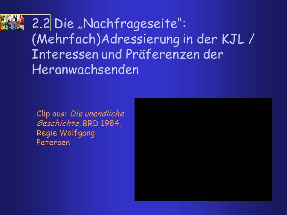 """2.2 Die """"Nachfrageseite : (Mehrfach)Adressierung in der KJL / Interessen und Präferenzen der Heranwachsenden"""