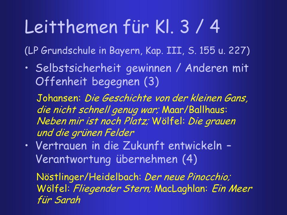 Leitthemen für Kl. 3 / 4 (LP Grundschule in Bayern, Kap. III, S. 155 u