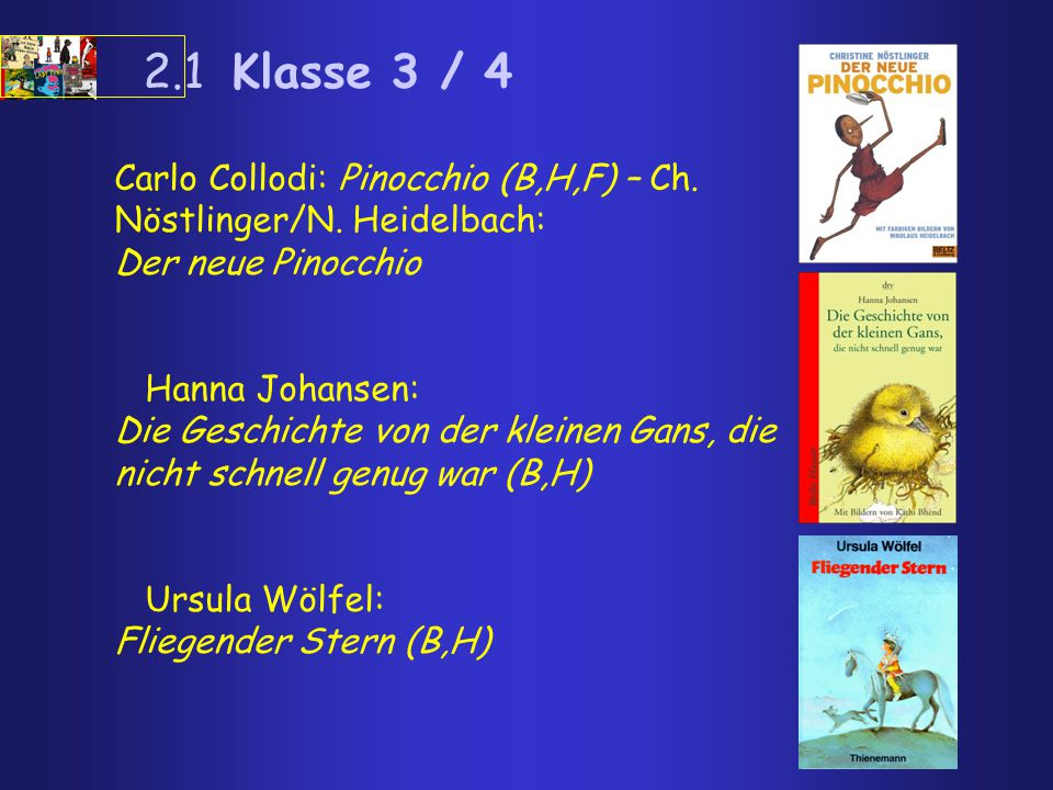 2.1 Klasse 3 / 4 Carlo Collodi: Pinocchio (B,H,F) – Ch. Nöstlinger/N. Heidelbach: Der neue Pinocchio.