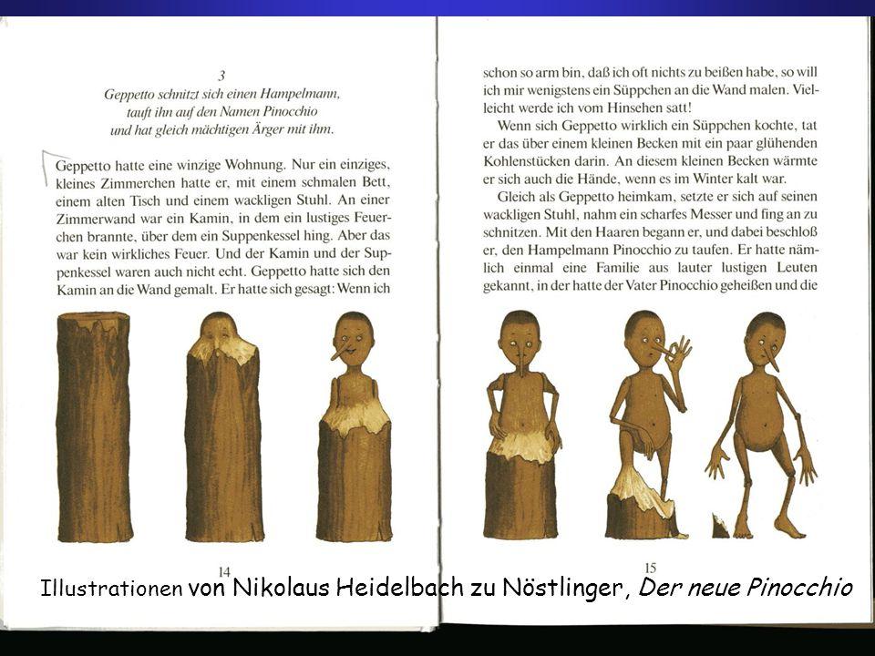 Illustrationen von Nikolaus Heidelbach zu Nöstlinger, Der neue Pinocchio