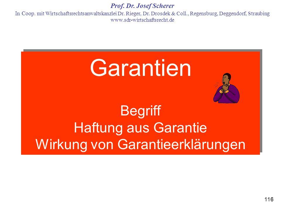 Garantien Begriff Haftung aus Garantie Wirkung von Garantieerklärungen
