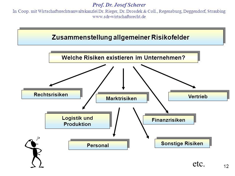etc. Zusammenstellung allgemeiner Risikofelder