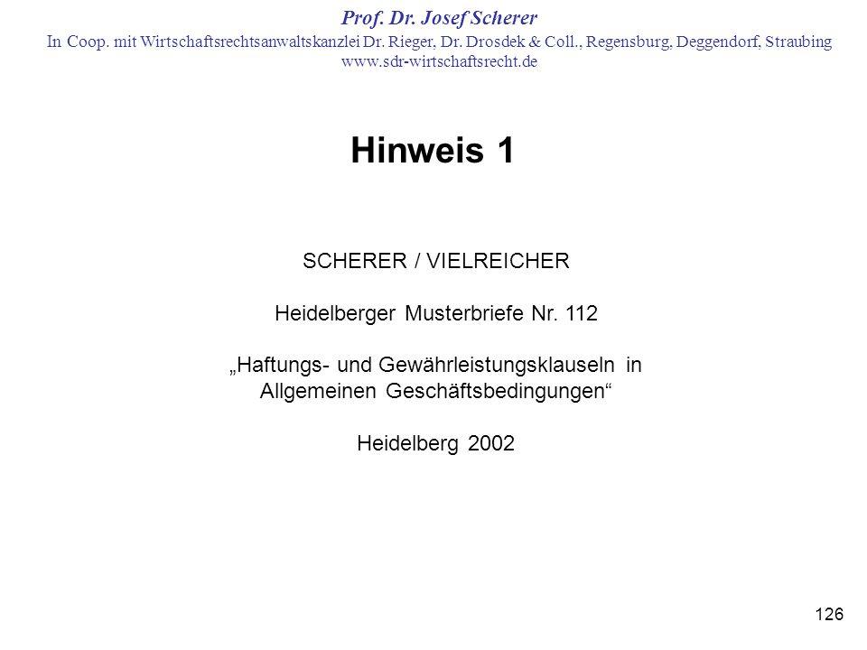 Hinweis 1 SCHERER / VIELREICHER Heidelberger Musterbriefe Nr. 112