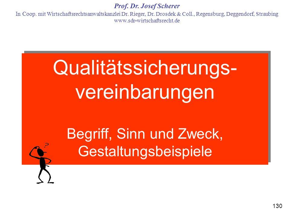 Qualitätssicherungs-vereinbarungen Begriff, Sinn und Zweck, Gestaltungsbeispiele