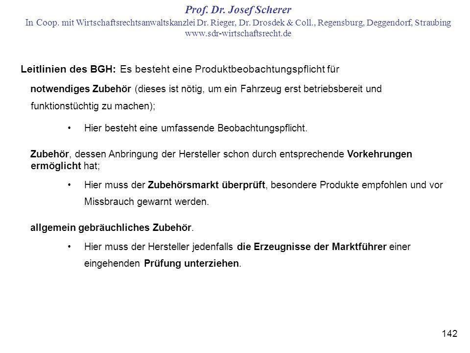 Leitlinien des BGH: Es besteht eine Produktbeobachtungspflicht für