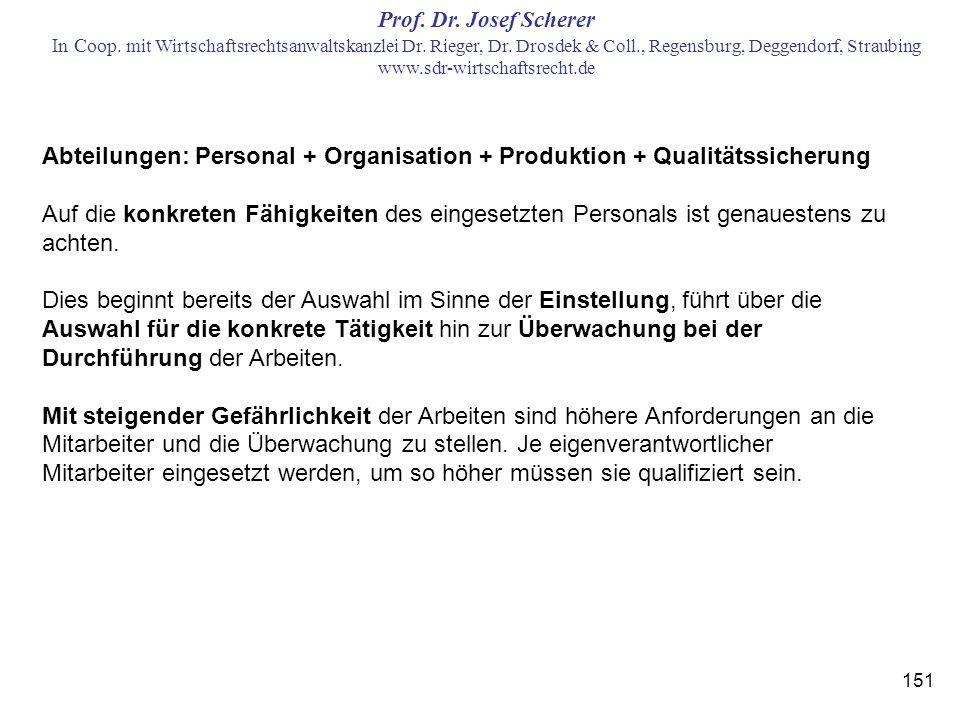 Abteilungen: Personal + Organisation + Produktion + Qualitätssicherung