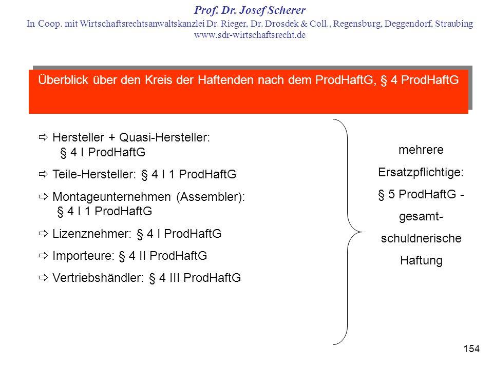 Überblick über den Kreis der Haftenden nach dem ProdHaftG, § 4 ProdHaftG