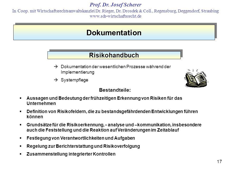 Dokumentation Risikohandbuch Bestandteile:
