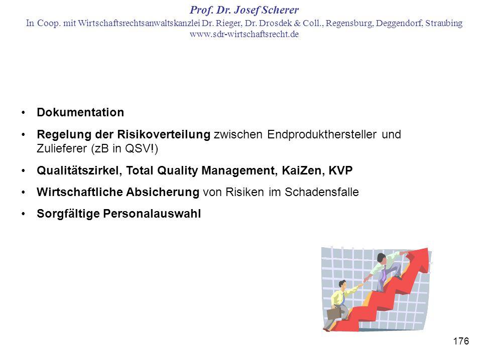 Dokumentation Regelung der Risikoverteilung zwischen Endprodukthersteller und Zulieferer (zB in QSV!)