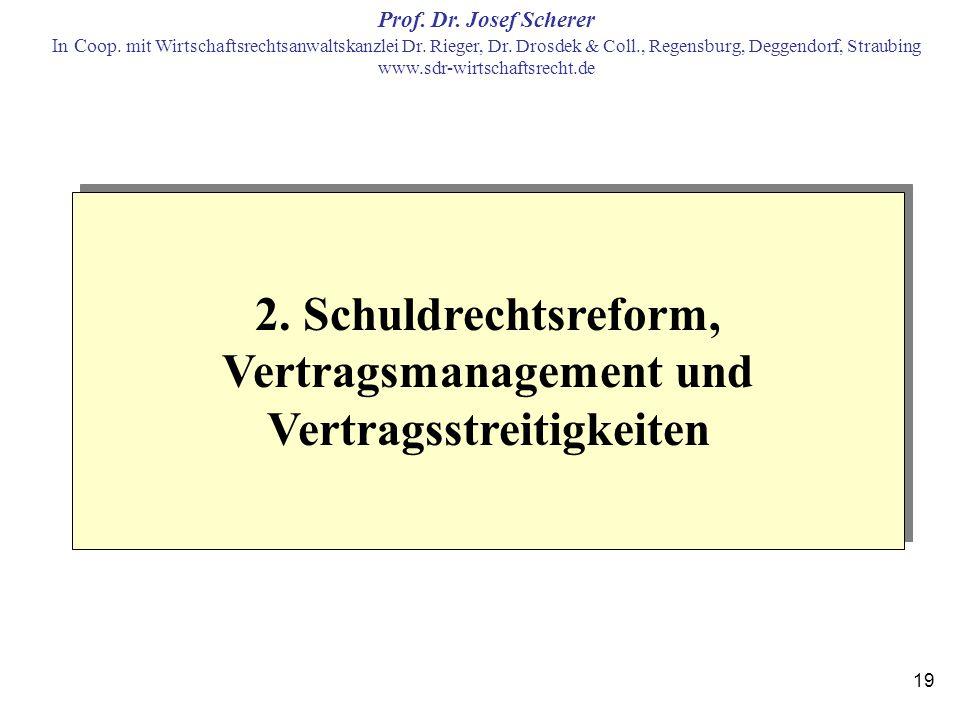 2. Schuldrechtsreform, Vertragsmanagement und Vertragsstreitigkeiten