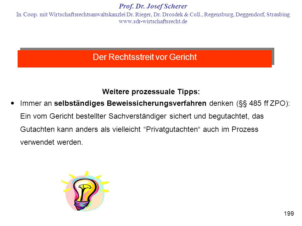 Weitere prozessuale Tipps: