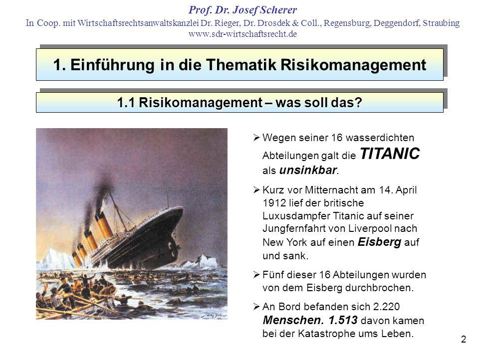1. Einführung in die Thematik Risikomanagement