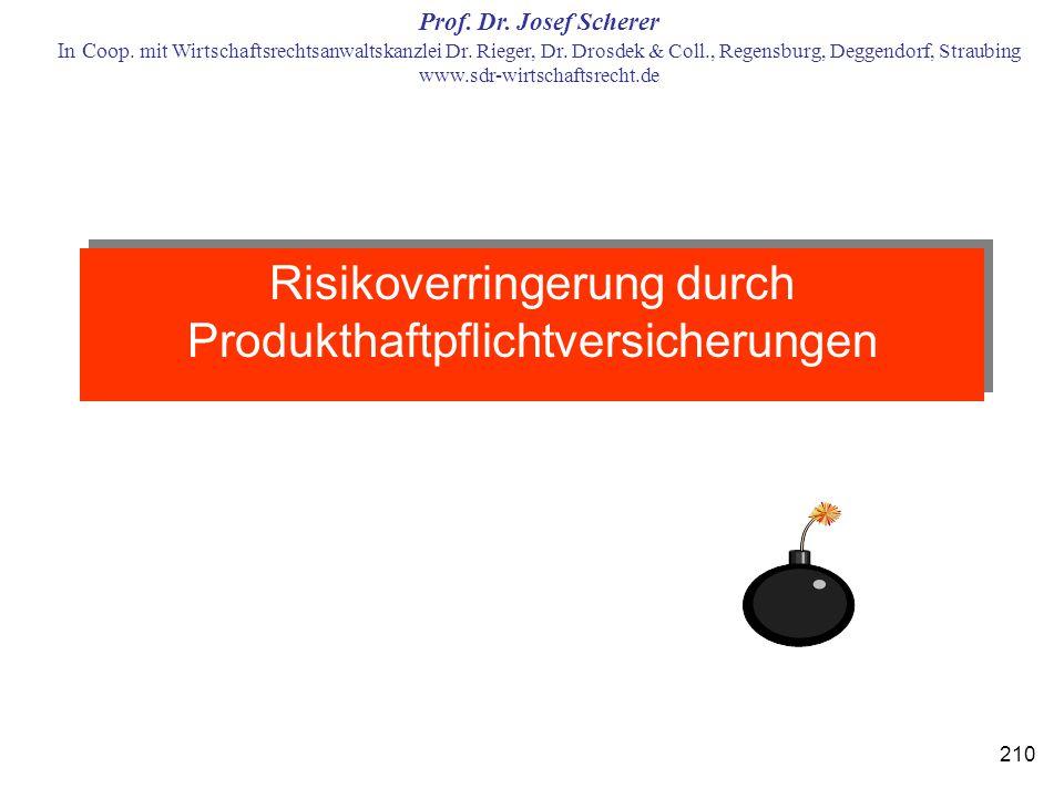 Risikoverringerung durch Produkthaftpflichtversicherungen