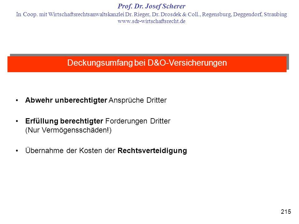 Deckungsumfang bei D&O-Versicherungen