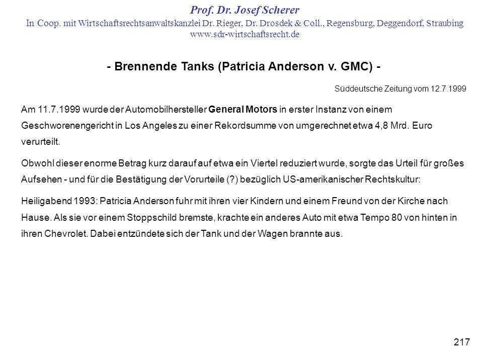 - Brennende Tanks (Patricia Anderson v. GMC) -