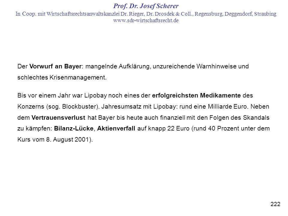 Der Vorwurf an Bayer: mangelnde Aufklärung, unzureichende Warnhinweise und schlechtes Krisenmanagement.
