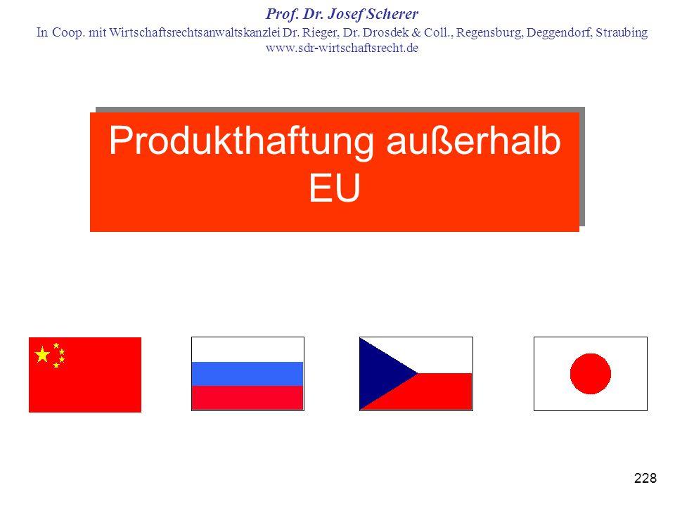Produkthaftung außerhalb EU