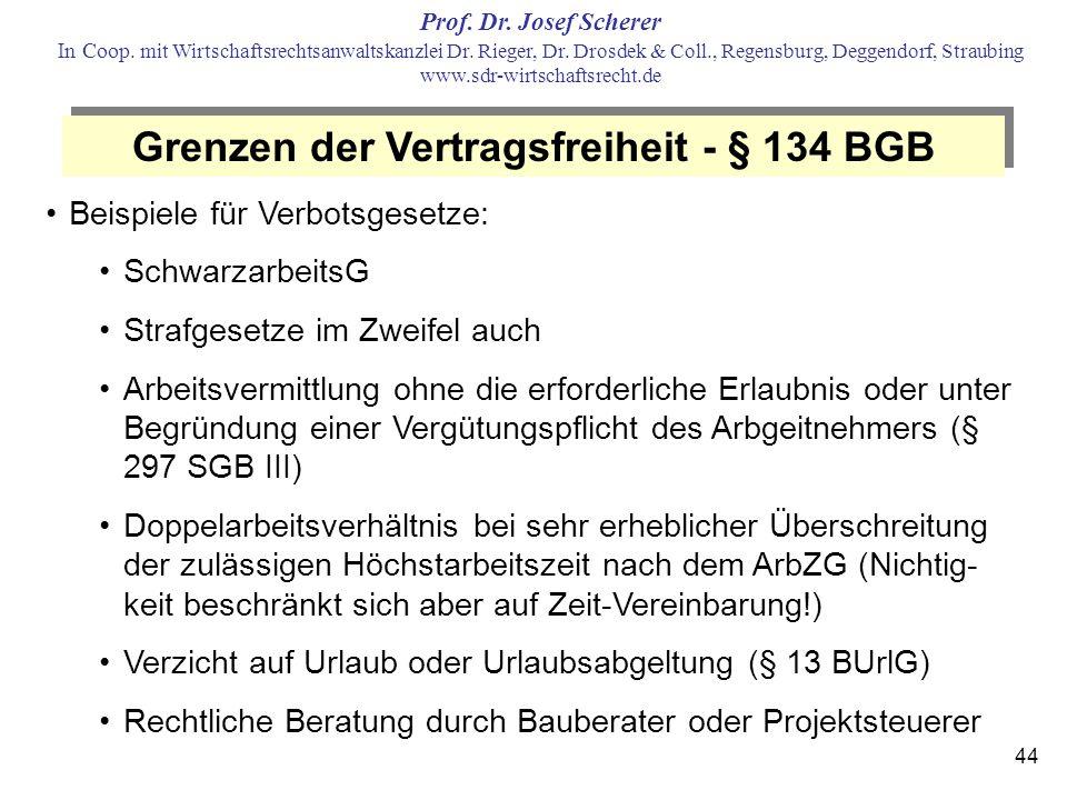 Grenzen der Vertragsfreiheit - § 134 BGB