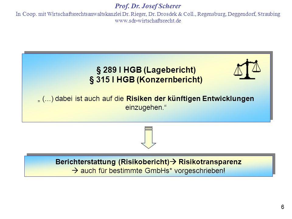 § 289 I HGB (Lagebericht) § 315 I HGB (Konzernbericht)