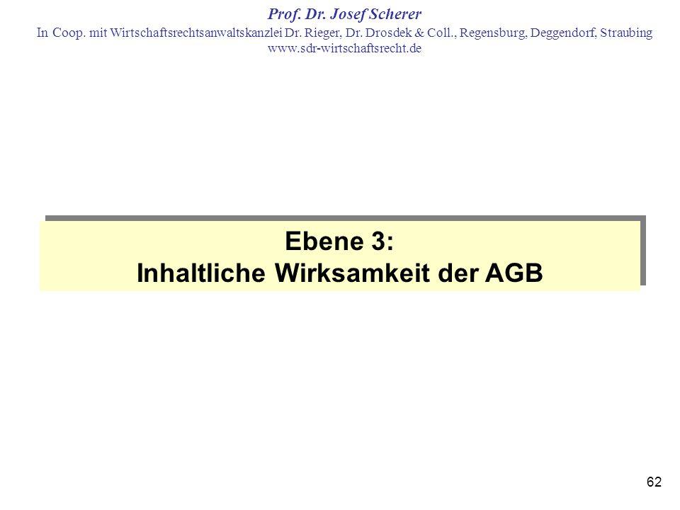 Inhaltliche Wirksamkeit der AGB