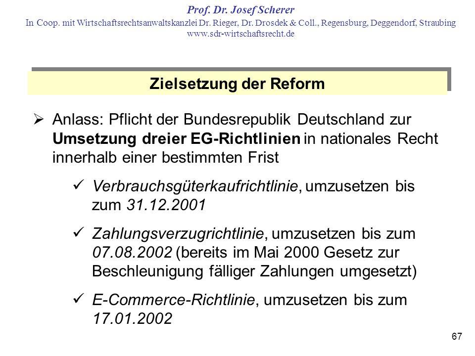 Zielsetzung der Reform
