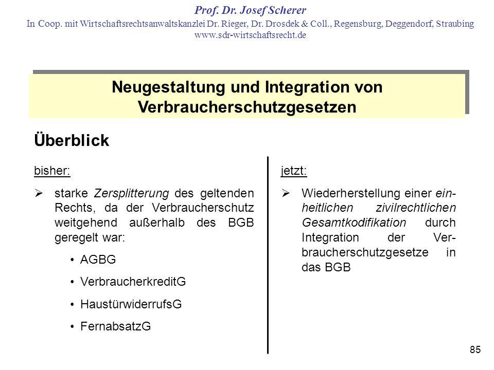 Neugestaltung und Integration von Verbraucherschutzgesetzen