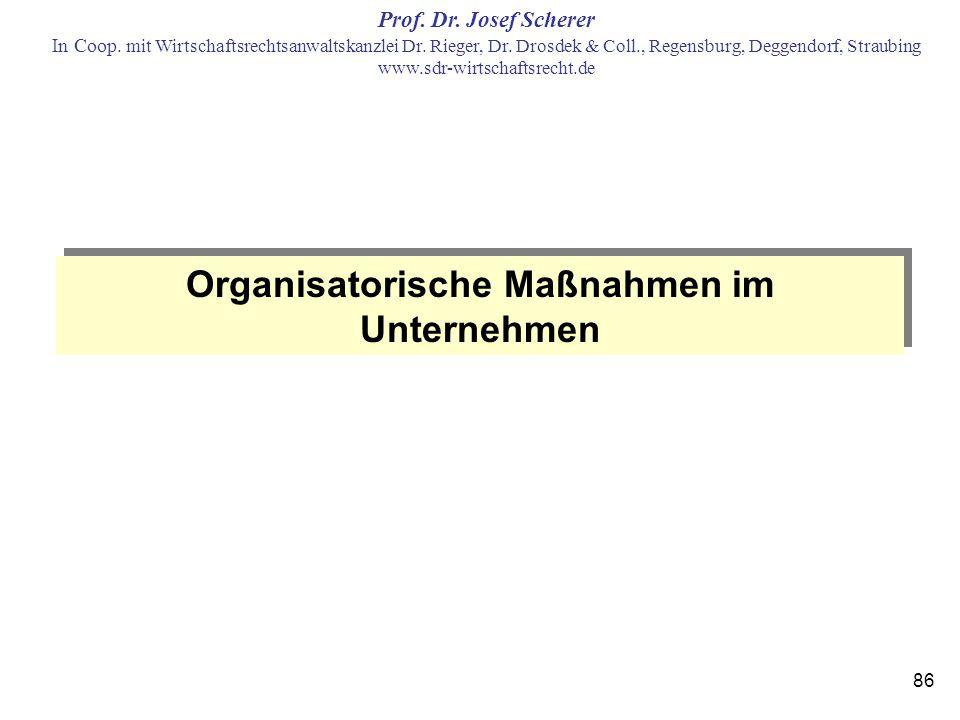 Organisatorische Maßnahmen im Unternehmen