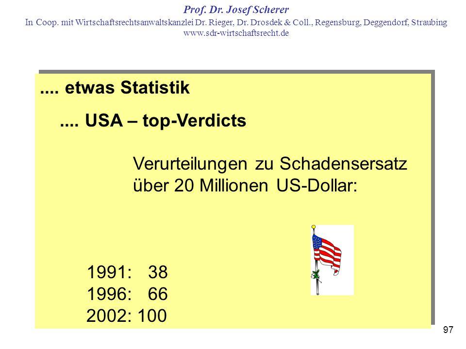 .... etwas Statistik .... USA – top-Verdicts Verurteilungen zu Schadensersatz über 20 Millionen US-Dollar: