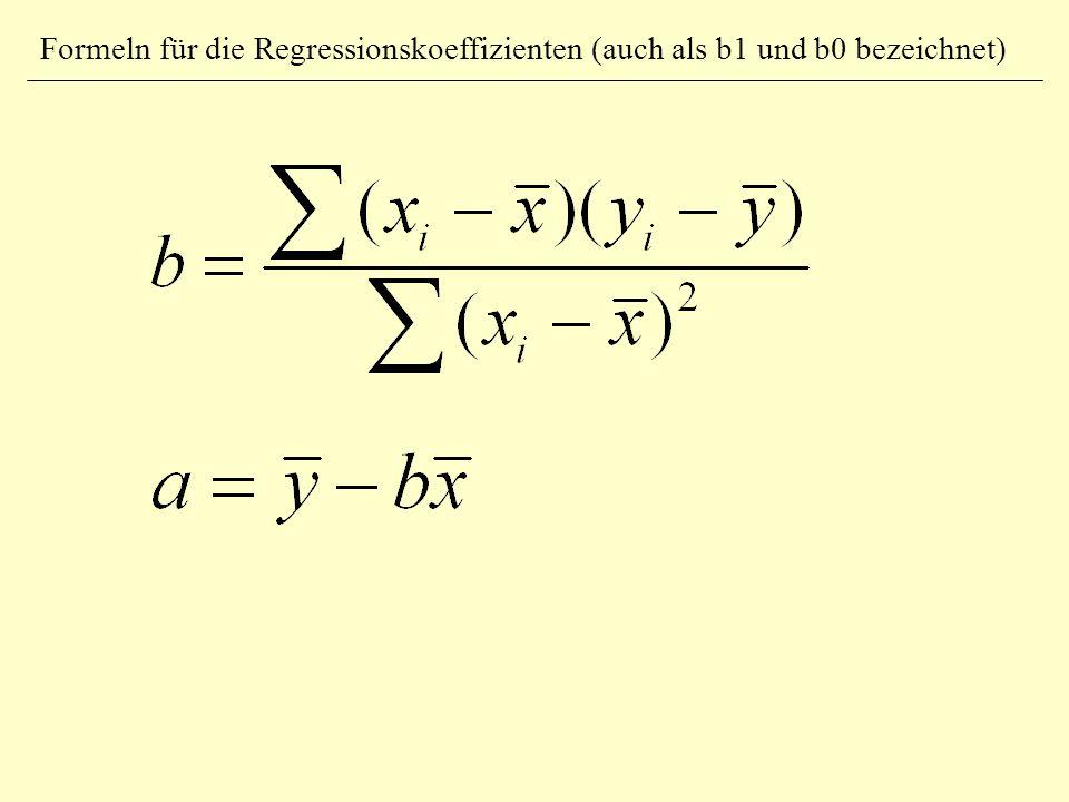 Formeln für die Regressionskoeffizienten (auch als b1 und b0 bezeichnet)