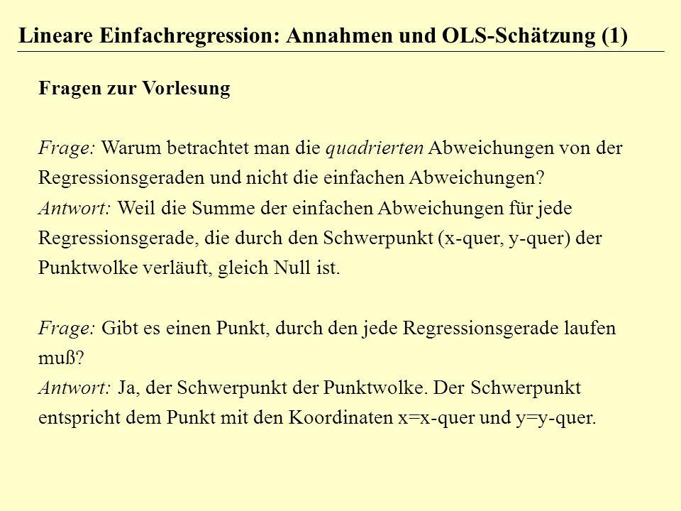 Lineare Einfachregression: Annahmen und OLS-Schätzung (1)