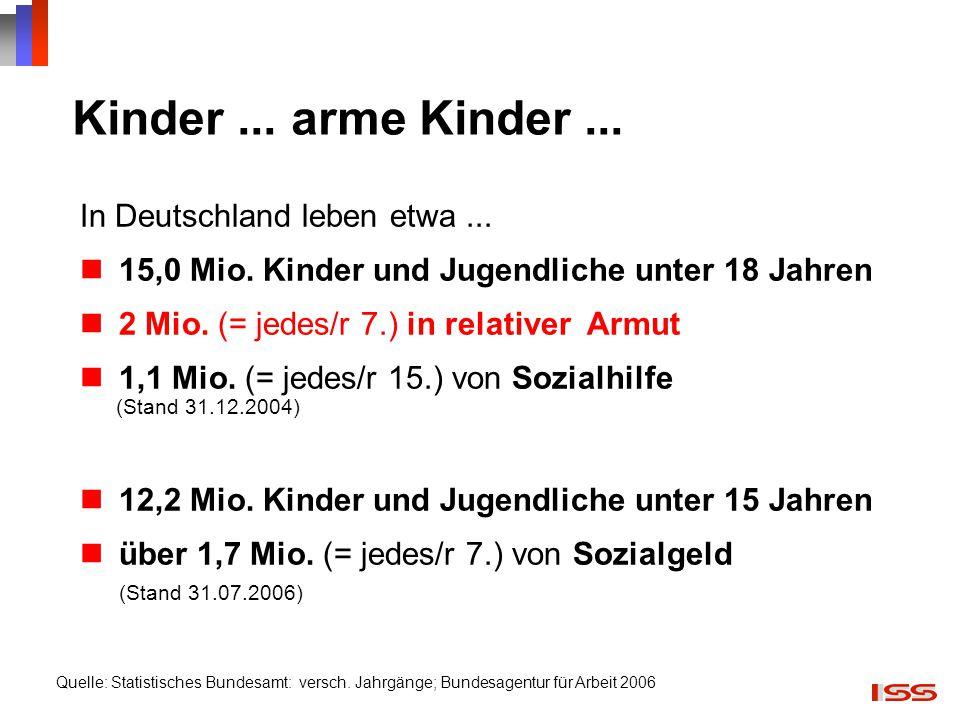 Kinder ... arme Kinder ... In Deutschland leben etwa ...