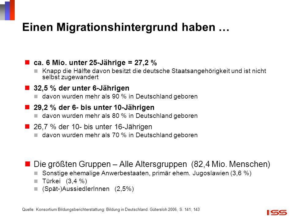 Einen Migrationshintergrund haben …